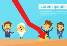 Business People Group Fall Down Red Arrow Graph. Financial Crisis Flat Vector Illustration Royalty Free Stock Photo