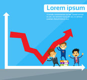 Business People Group Fall Down Red Arrow Graph. Financial Crisis Flat Vector Illustration Royalty Free Stock Photography