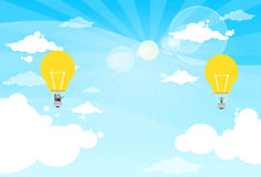 Business People Group Fly Air Balloon Light Bulb Stock Photo