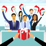 Business People Group Gift Box New Year Christmas Stock Photos