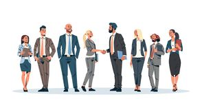 Business people group hand shake agreement communicating concept businessmen women team leader meeting male female