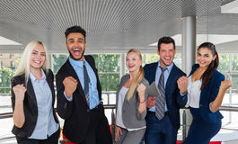Business People Group Happy Smile Standing At Modern Office Businesspeople Success Raised Hands Royalty Free Stock Photo