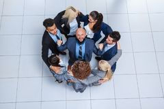 Business People Group Happy Smile Standing At Modern Office Top View royalty free stock images