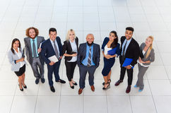 Business People Group Happy Smile Standing At Modern Office Top View, Businesspeople In Row. Colleague Team royalty free stock photography