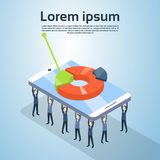 Business People Group Hold Cell Smart Phone With Pie Diagram Finance Graph Statistic 3d Isometric. Vector Illustration Royalty Free Stock Photography