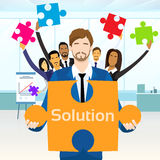 Business People Group Hold Jigsaw Puzzle Piece Stock Images