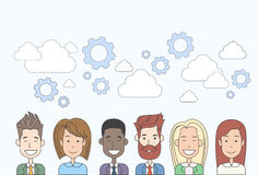 Business People Group Human Resources Teamwork Diverse Cloud Concept Stock Photography
