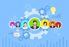 Business People Group Icon Cog Wheel Banner Stock Photo