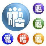 Business people group icons set vector stock illustration