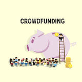 Business People Group Investment Money Investor Crowd Funding Web Banner. Flat Vector Illustration Royalty Free Stock Photo