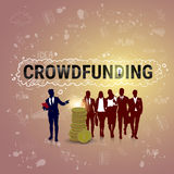 Business People Group Investment Money Investor Crowd Funding Web Banner. Flat Vector Illustration Royalty Free Stock Photos