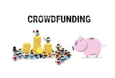 Business People Group Investment Money Investor Crowd Funding Web Banner. Flat Vector Illustration Stock Photography