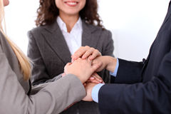 Business people group joining hands and representing concept of friendship and teamwork Royalty Free Stock Photography