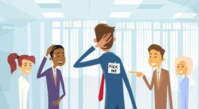 Business People Group Laughing, Kick Me Note On Businessman Back, Joke Fool Day April Holiday. Vector Illustration royalty free illustration
