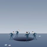 Business People Group Looking In Hole Fail Bankruptcy Crisis Concept Royalty Free Stock Images