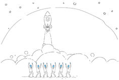 Business People Group Looking At Launching Space Ship New Stratup Strategy Development Concept. Vector Illustration Royalty Free Stock Photos