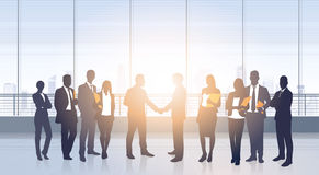 Business People Group Meeting Agreement Hand Shake Silhouettes Modern Office  Royalty Free Stock Photos
