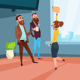 Business People Group Meeting Businesspeople Talking Discussing Communication. Flat Vector Illustration royalty free illustration