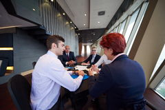 Business people group on meeting at modern bright office Royalty Free Stock Photos