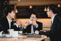 Business people. A group of men are businessmen sit together and succeeded in finding the various agreements or meeting Royalty Free Stock Images