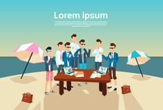Business People Group Office Desk Working Beach Summer. Vacation Vector Illustration stock illustration