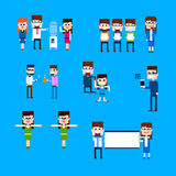 Business People Group Office Worker Activity Set Pixel Design. Vector Illustration Royalty Free Stock Image