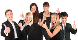 Business people group with ok gesture. On white Stock Images