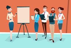 Business People Group Presentation Flip Chart, Businesspeople Team Training Conference Meeting. Flat Vector Illustration Royalty Free Stock Image