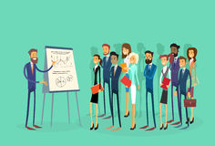 Business People Group Presentation Flip Chart. Finance, Businesspeople Team Training Conference Meeting Flat Vector Illustration Royalty Free Stock Photography