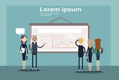 Business People Group Presentation Flip Chart Finance, Businesspeople Team Training Conference Meeting. Flat Vector Illustration Royalty Free Stock Image