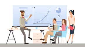 Business People Group Presentation Flip Chart Finance, Casual Businesspeople Team Training Conference Meeting. Flat Vector Illustration Royalty Free Stock Photography