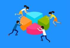Business People Group Pushing Part Element Pie Diagram Teamwork Royalty Free Stock Image