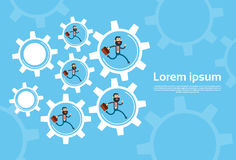 Business People Group Run In Cog Wheel Concept Teamwork Royalty Free Stock Images