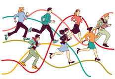 Business people group run on graph line. Stock Photos