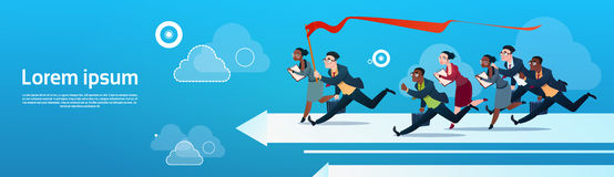Business People Group Run Team On Arrow Competition Concept. Flat Vector Illustration stock illustration