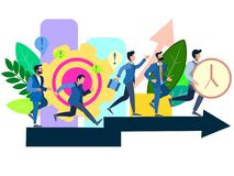 Business People Group Run Team On Arrow Competition Concept Flat Vector stock illustration