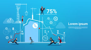 Business People Group Run Team Finance Graph Competition Concept. Flat Vector Illustration Stock Image