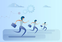 Business People Group Run Team Leader Competition Concept. Flat Vector Illustration Royalty Free Stock Photo