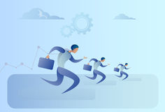 Business People Group Run Team Leader Competition Concept. Flat Vector Illustration Royalty Free Stock Images