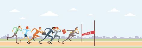 Business People Group Run To Finish Line Team Leader Competition. Win Concept Flat Vector Illustration vector illustration