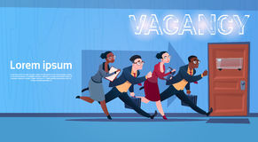Business People Group Running Vacancy Search Employee Position Human Resources Recruitment. Flat Vector Illustration Royalty Free Stock Images