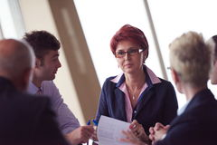 Business people group sign contract Stock Photo