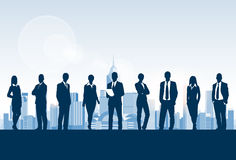 Business People Group Silhouette, Businesspeople. Over City Modern Office Buildings Concept Blue Background Vector Illustration royalty free illustration
