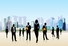 Business People Group Silhouette City Street Royalty Free Stock Images