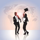 Business People Group Silhouette Excited Hold Hands Up, Businesswoman And Businss Man Winner Success. Business People Group Silhouette Excited Hold Hands Up Royalty Free Stock Images