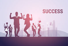 Business People Group Silhouette Excited Hold Hands Up Raised Arms, Businesspeople Concept Winner Success Royalty Free Stock Photography