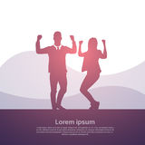 Business People Group Silhouette Excited Hold Hands Up Raised Arms, Businesspeople Concept Winner Success Royalty Free Stock Images