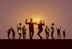 Business People Group Silhouette Excited Hold Hands Up Raised Arms, Businesspeople Concept Winner Success. Vector Illustration Royalty Free Stock Photo