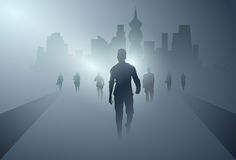 Business People Group Silhouette Making Step Forward Full Length Over Shadow City Background Royalty Free Stock Photos