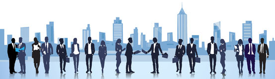 Business People Group Silhouette Meeting Speak Discussion Communication Concept Stock Image